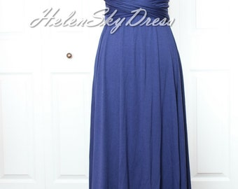 Convertible Infinity dress long Wrap Bridesmaids Dress in Navy Blue