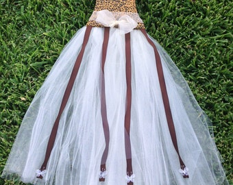 Animal Print Tutu Dress Bow Holder
