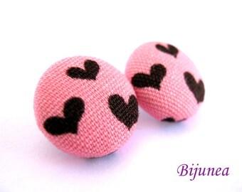 Heart earrings - Heart stud earrings - Pink heart posts - Valentine heart post earrings - Love heart earrings sf501