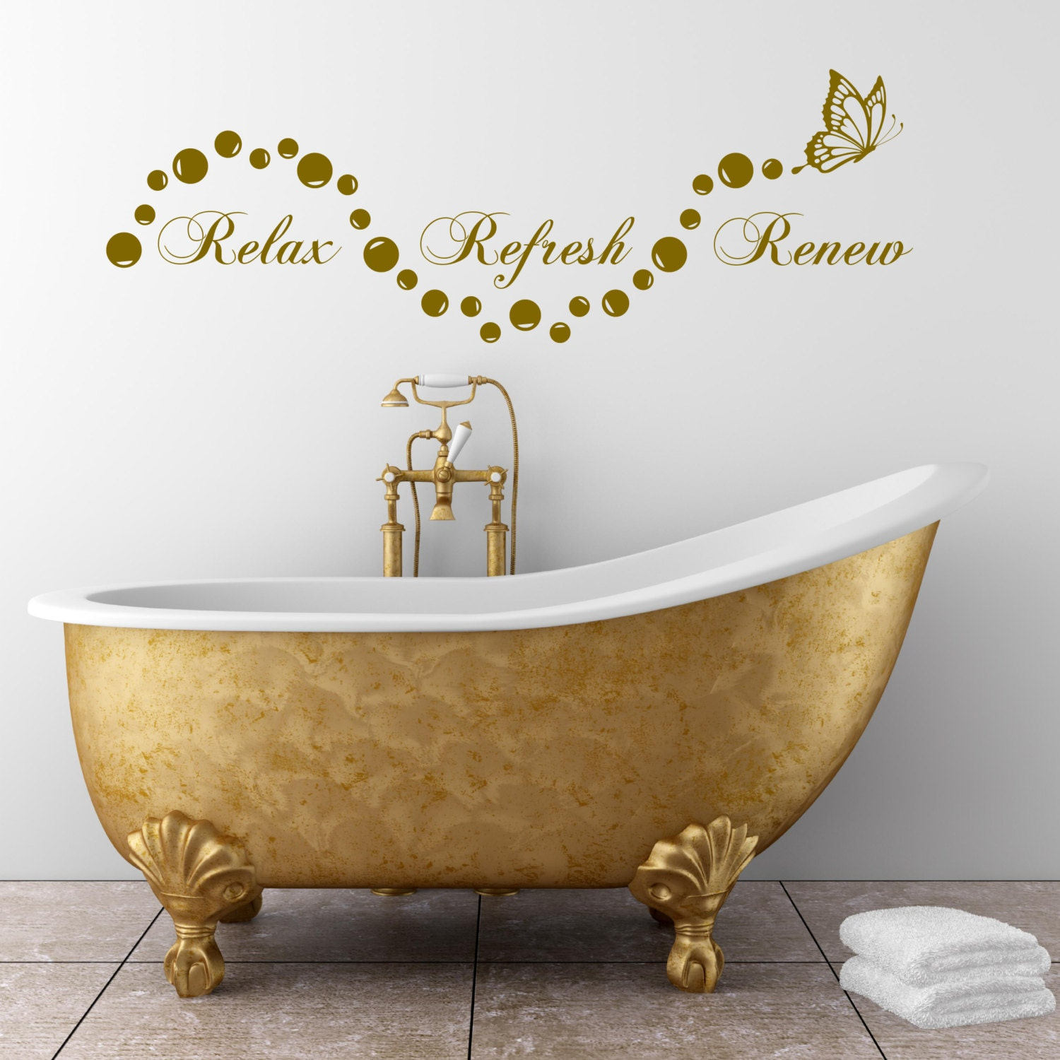 Relax salle de bain bulles en suite wall art sticker citation for Citation salle de bain