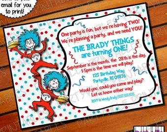 Dr. Seuss BIRTHDAY INVITATION Twins Dr. Seuss inspired invites Cat in the hat thing 1 thing 2