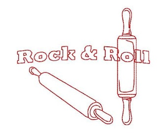 Embroidery Design Pattern Instant Download Tea Towel Redwork Rolling pins Rock and Roll Kitchen Theme