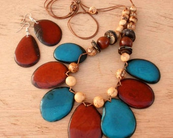 Blue Statement Necklace and Earring Set - Chunky Statement Necklace - Tagua Nut Necklace - Blue Chunky Necklace - Eco Friendly Jewelry 1230