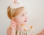 Girls Felt Birthday Hat - Glitter Stars - Gray and Pink and Gold