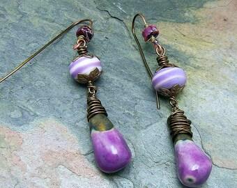 Earthy Pantone Purple Stoneware Ceramic Dangle and Lampwork Bead Beaded  Earrings Handmade Gypsy Boho SRA Artisan jewelry