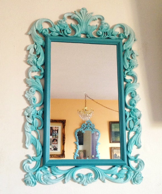 Upcycled vintage ornate mirror ombre teal aqua by for Teal framed mirror