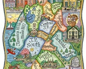 "Jamaica Plain Boston Neighborhood Map Art Print 16"" x 20"""