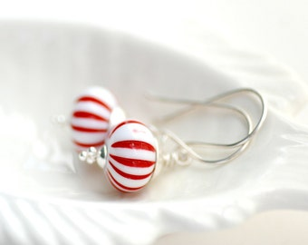 Red and White Earrings, Christmas Jewelry, Peppermint Earrings, Striped Earrings, Xmas Earrings, Lucite Jewelry, Candy Cane, Sterling Silver