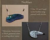 CUSTOM - SINGLE Leather Bird Wing Necklace - Fantasy Wing Pendant