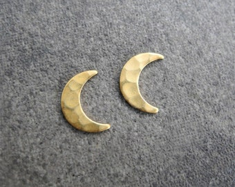 Crescent Moon Earrings, Moon Phase Jewelry, Unisex Earrings, Moon Jewelry, Hammered Brass Studs, Sterling Silver Hypoallergenic (E215)