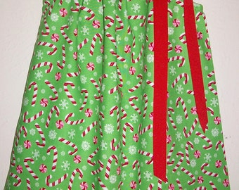 Christmas Dresses Girls Dress Pillowcase Dress with Candy Canes Peppermint Dress Baby Girl Dress Green and Red Holiday Dress for Christmas