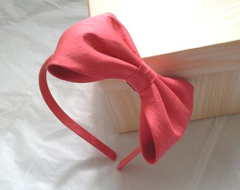 Agnes coral dupioni silk alice band with large bow