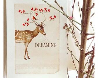 Deer print, dreaming, Christmas print, woodland, red berries, reindeer print, dreaming of a white Christmas, home decor, digital print