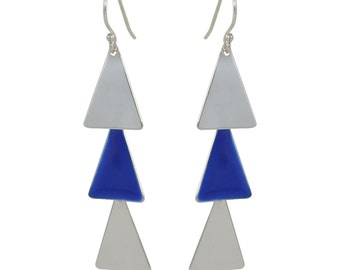 Dangling Navy and Silver Triangle Earrings // These Bold Modern Navy and Silver Minimalist Earrings Move with You