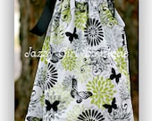 Girls Pillowcase Dress Glamour Girl Butterfly with Black Ribbon Ties Sz 6mo - 5 Sz 6, 7, 8 Available for an Additional Charge