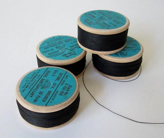 Silk Thread Braided Suture Thread Vintage Ww2 Medical Size