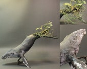 humpback whale with norfolk pines - original handmade OOAK clay art sculpture