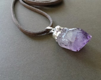 Silver Dipped Raw Amethyst Pendant Necklace
