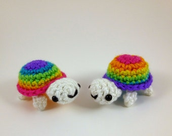 Rainbow Baby Turtle Amigurumi Crochet Plushie - Purple or Pink Shell Top - MADE TO ORDER