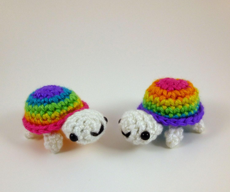 Arco iris bebé tortuga Amigurumi Crochet peluche cáscara