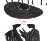 Watercolor Red Lips 1950's Vogue Poster, Vogue Face Cover Hand Drawn, Fashion Illustration Print, Black and White Fashion Poster by Zoia