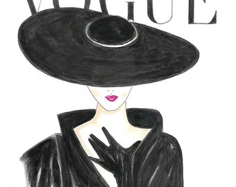 Watercolor Hot Pink Lips 1950's Vogue Poster, Vogue Face Cover Hand Drawn Fashion Illustration Print, Black and White Fashion Art by Zoia