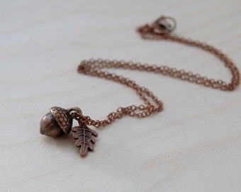Copper Acorn Charm Necklace | Cute Acorn Charm Necklace | Fall Acorn Jewelry | Woodland Acorn