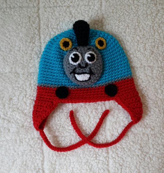 Free Crochet Hat Pattern For Thomas The Train : Thomas The Train Crocheted Hat Baby Toddler Child Teen or