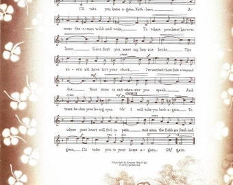 Music Print - Vintage Sheet Music Book Page - Music Wall Art - I'll Take You Home Again Kathleen - Thos P Westendorf - Ideals Magazine