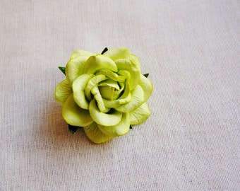 Chartreuse green Sweetheart Rose Millinery flower Brooch Pin- wedding corsage boutonniere, paper jewelry, decoration, embellishment