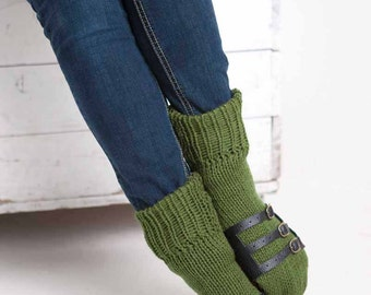 Knit Slipper Sock Adult Sandal Sock Faux Sandal Olive Green House Slippers Womens Slippers Home Slippers Brown House Shoes Home Shoes