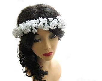 Wedding headpiece, Small flower  head wreath, white bridal head piece, flower girl hair wreath, flower girl accessory