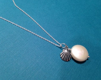 Freshwater Coin Pearl Necklace Scallop Shell Charm, Sterling Silver Chain, Minimalist Beach Ocean, Wire Wrapped, Creamy White Made to Order