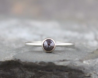 Rose Cut Diamond Ring - Engagement Ring - Sterling Silver Diamond Ring - Stacking Ring - April Birthstone - Chocolate Colored Diamond Rings