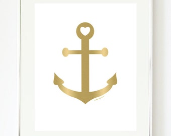 Gold Anchor Art Print - Nautical Art - Anchor - Gold Artwork