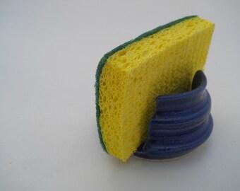 Blue pottery sponge holder