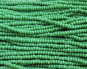 6/0 Opaque Light Green Czech Glass Seed Bead Strand (CW111)