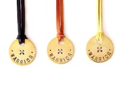 Leather Necklace - Handstamped Tag - Genuine Leather, Brass - The Tagged: Warrior Crossed Arrows