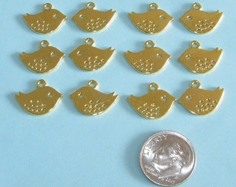12 Gold Bird Charms 12mm x 16mm Gold Plated Double Sided