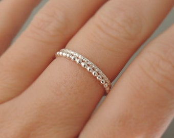 Set of 2 Thin Silver Rings 2 thumb rings, midi rings or pinky rings stacking ring Sparkly Stackable Rings jewellery australia