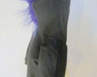 Purple fur Mohawk Hoodie for infants - Baby Mohawk Hoodie American Apparel Sweatshirt with Long Pile Purple Faux Fur Mohawk- 6-12 Months