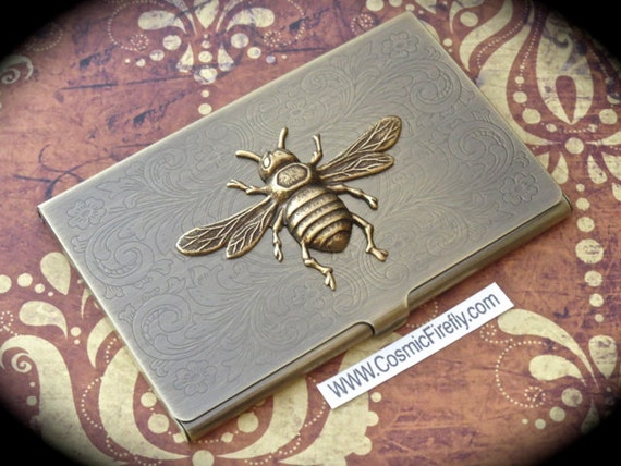 Brass bee business card case antiqued brass card case vintage for Vintage business card case