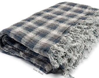 Pure Linen Picnic Blanket. 100% Linen Blanket. Organic Linen Throw Blanket. Grey Plaid Natural Linen Blanket Throw. Rustic Linen Bedspread