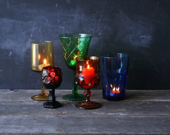 5 Vintage Candle Holders Tall Glass Jewel Tone Holiday Table Red Green Blue Gold From Nowvintage on Et
