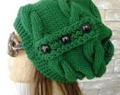 Slouchy Hat - Green Knit Hat - Girlfriend Gift  Winter Hat  Women hat   Chunky Knit Womens Beanie Emerald  Green Winter Fashion  Accessories