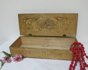 Flemish Box Hose and Flowers 1905- 1910 Pyrographic Design