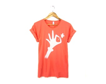 Lucky Clover Tee - Boyfriend Fit Scoop Neck Cotton Tshirt with Rolled Cuffs in Coral Red - Women's Size S-5XL