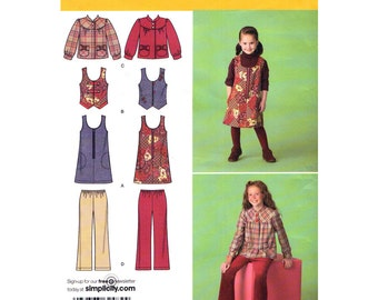Girls Jumper Dress Vest Jacket Pants Simplicity 2484 Size 3 to 6 or 7 to 14 UNCUT