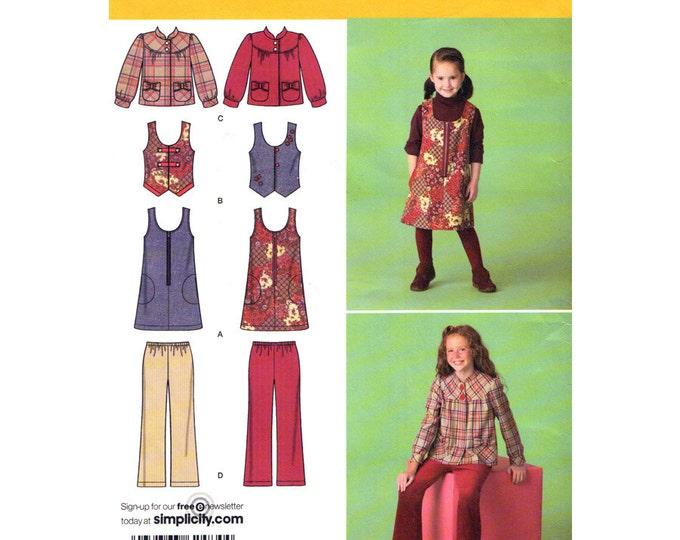 Girls Jumper Dress Vest Jacket Pants Simplicity 2484 Size 3 to 6 or 7 to 14 UNCUT