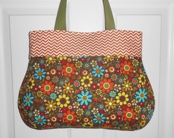 """Handmade Purse...The """"Heather""""...in Floral and Chevron"""